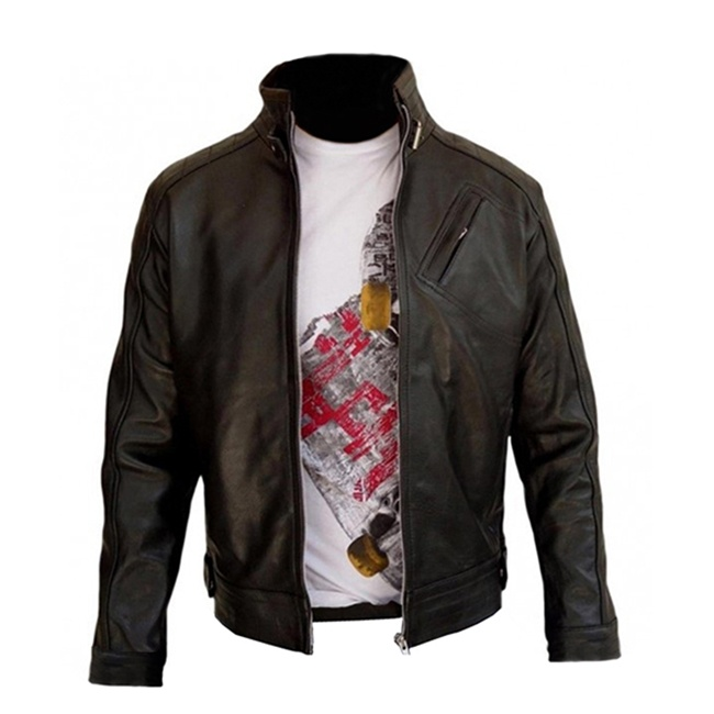 Aaron Cross Black Leather Jacket Front