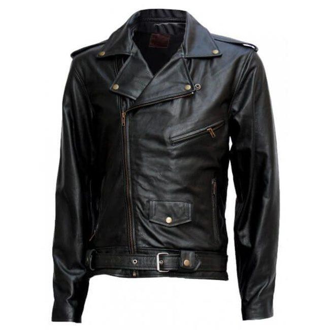 Black Biker Terminator Leather Jacket Front