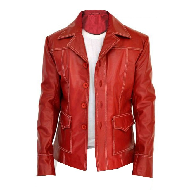 Fight Club Brad Pitt Leather Jacket Front B